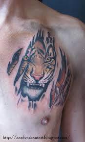 tiger ripped skin tattoo design