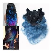 teal hair extensions clip in blue ombre clip human hair extensions black ombre blue