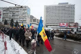 Moldova Flag Holding A Moldovan Flag Young Nastya Marches In Chisinau Moldova