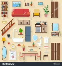 furniture set rooms house flat style stock vector 215187904