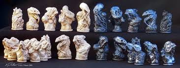 custom chess set hand sculpted in wax molds made and then cast