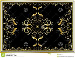 Gold Oriental Rug Oriental Gold Ornaments For Rug In Dark Background Stock Image