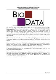 What Is Difference Between Cv And Resume How To Write Biodata 9 Bio Data Sample For Job Emt Resume Best
