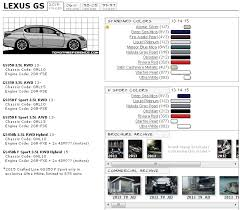lexus paint colors lexus gs touchup paint codes image galleries brochure and tv