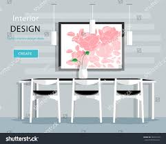 modern dining room interior design table stock vector 380241976