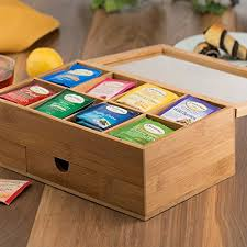 tea drawer bambsi bamboo tea box with 8 storage sections expandable drawer