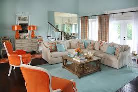 orange living room orange and aqua blue coastal living room jenna buck gross hgtv