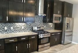 Brushed Nickel Cabinet Hardware by Kitchen Dark Cabinets W Gray Countertops And Dark Hardwood