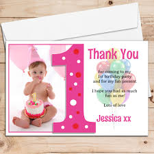 Personalised Birthday Invitation Cards 10 Personalised Girls First 1st Birthday Thank You Photo Cards N192