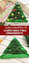 yarn wrapped christmas tree craft stick ornaments onion rings