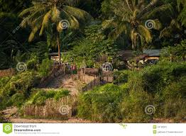 small asian village with traditional wooden house stock photo