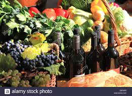 thanksgiving fruit vegetables and wine package stock photo
