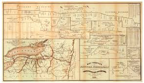 New York State Map Erie Canal Profile 1858 Map Poster Erie Canal Museum