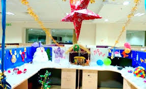 Christmas Decoration Theme Ideas Office Cubicle Colorful With