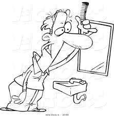 vector of a cartoon balding man combing his hair coloring page