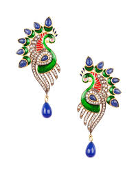 peacock design earrings buy fascinating meenakari peacock design and semi precious