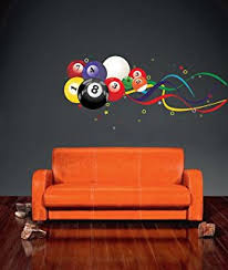 Billiard Room Decor with Amazon Com Hangarounds By Rethinc Pool Ball Prints For Rec Room