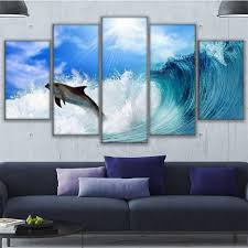 dolphin home decor online shop print painting home decor framework 5 panel dolphin