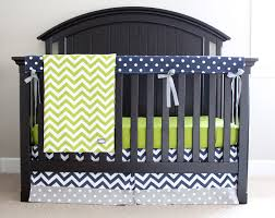 Custom Crib Bedding Sets Custom Crib Bedding Lime Green Chevron Navy Blue And Grey