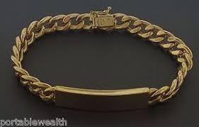 gold name plate 18k cuban link id bracelet yellow gold name plate blank ebay