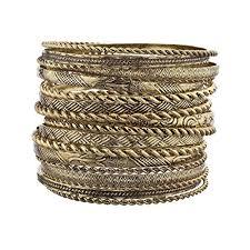 multi metal bracelet images Lux accessories flower mixed metal aztec multi bangle jpg