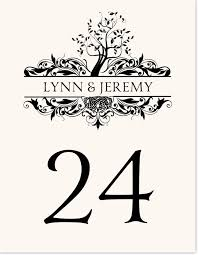 celtic tree of monogram wedding table number cards
