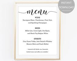wedding bar menu template wedding bar menu sign printable reception sign template