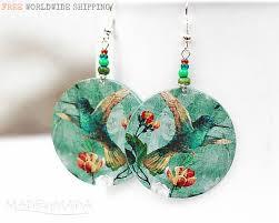 decoupage earrings colorful dots earrings dangle decoupage 2sided door madebymada