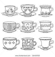 tea cup coffee cup saucers set simple sketch icon black line