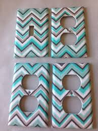 Chevron Bathroom Decor by Blue Gray Chevron Light Switch Cover Aqua Gray Nursery Decor