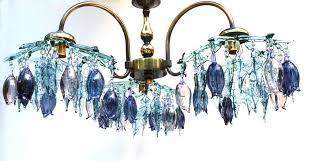 Teal Glass Chandelier Three Arm Glass Chandelier In Aqua Blue Amethyst And Purple