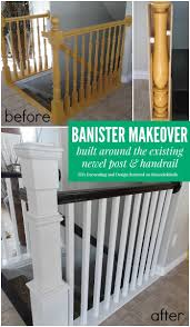 Wood Banisters And Railings Stair Banister Renovation Using Existing Newel Post And Handrail