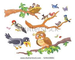 cute woodland animals forest birds sitting stock illustration