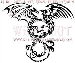 entwined dragon and phoenix tribal design by wildspiritwolf on