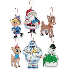 rudolph ornaments plastic canvas cross stitch kit 5 25