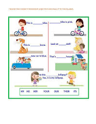 possessive adjectives interactive worksheet