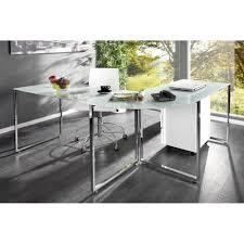 Design Schreibtisch Schreibtisch Konsolentisch Eck Schreibtisch Lagune 180x60 Glas Weiss