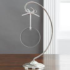curved silver ornament display stand