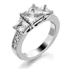 trellis three stone ring channel set square stones fine jewelry