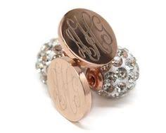 Gold Monogram Earrings Stainless Steel Gold Monogram Pearl Back Earrings Stainless