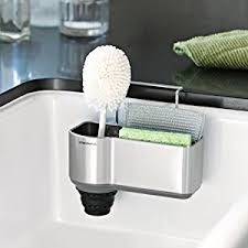 Amazoncom Simplehuman Sink Caddy Brushed Stainless Steel Home - Kitchen sink sponge holder