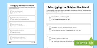 identifying the subjunctive mood activity sheet subjunctive