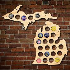 Upper Michigan Map by Small Michigan And Upper Peninsula Beer Cap Map