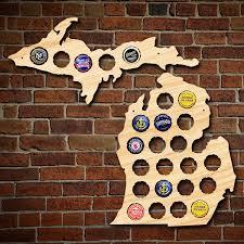 Upper Peninsula Michigan Map Small Michigan And Upper Peninsula Beer Cap Map