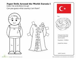 printable pictures of turkey the country paper dolls around the world eurasia i worksheets dolls and learning