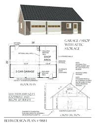 Garage With Living Space Above by 2 Car Attic Roof Garage With Shop Plan 988 1 By Behm Design3 Plans