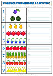 kindergarten numbers printable worksheets and exercises