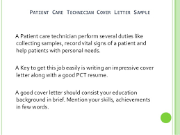 patient care technician cover letter no experience