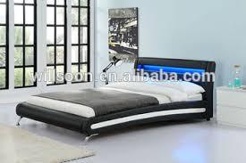 Led Bed Frame Modern Bed Design Headboard Led King Size Pu Leather Bed