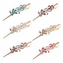 alligator hair clip vintage rhinestone resin flower large alligator hair clip